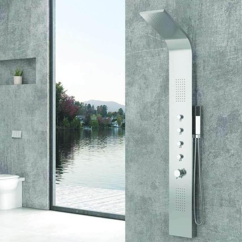 colonna doccia idromassaggio in acciaio kamalubagno