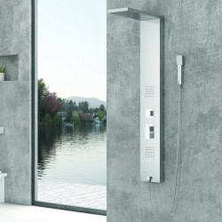 Pannello doccia idromassaggio in acciaio satinato modello Kaman-E220
