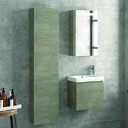Composizione bagno sospesa mobile 45cm specchio e colonna 160cm