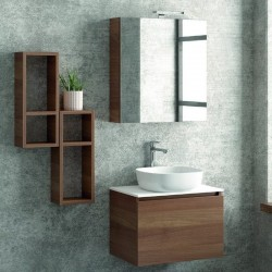 Composizione bagno sospesa 60cm mobile 2 pensili e specchio contenitore SP-60C