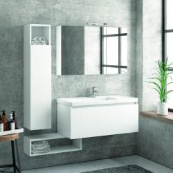 Composizione mobili bagno sospesa 100cm composta da mobile colonna specchio e pensile