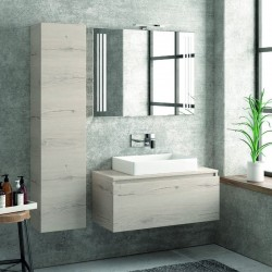 Composizione bagno sospesa 100cm mobile specchio e colonna