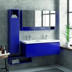 Composizione bagno sospesa 120cm mobile lavabo doppio colonna specchio e pensile