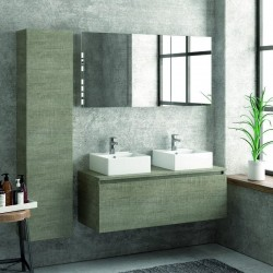 Composizione bagno 120cm sospesa con mobile specchio e colonna
