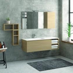 Composizione bagno 135cm composta da mobile e lavabo, specchio e due pensili