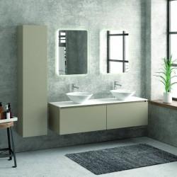 Composizione mobili bagno 155cm sospesa, composta da mobile, due specchi led e colonna SP-155B