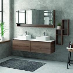 Composizione bagno sospesa 155cm , composta da mobile, specchio contenitore e due pensili SP-155C