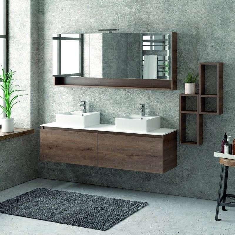 Composizione bagno con mobile 155cm arredo bagno kamalu for Composizione bagno