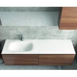 Mobile bagno sospeso 155 cm con lavabo in solid surface bianco e doppio cassetto SP-155C