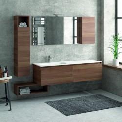 Composizione bagno 155cm sospesa, composta da mobile con lavabo, specchio, colonna e pensile SP-155E