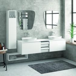 Composizione mobili bagno 175cm sospesa, composta da mobile, due specchi, colonna e pensile SP-175A