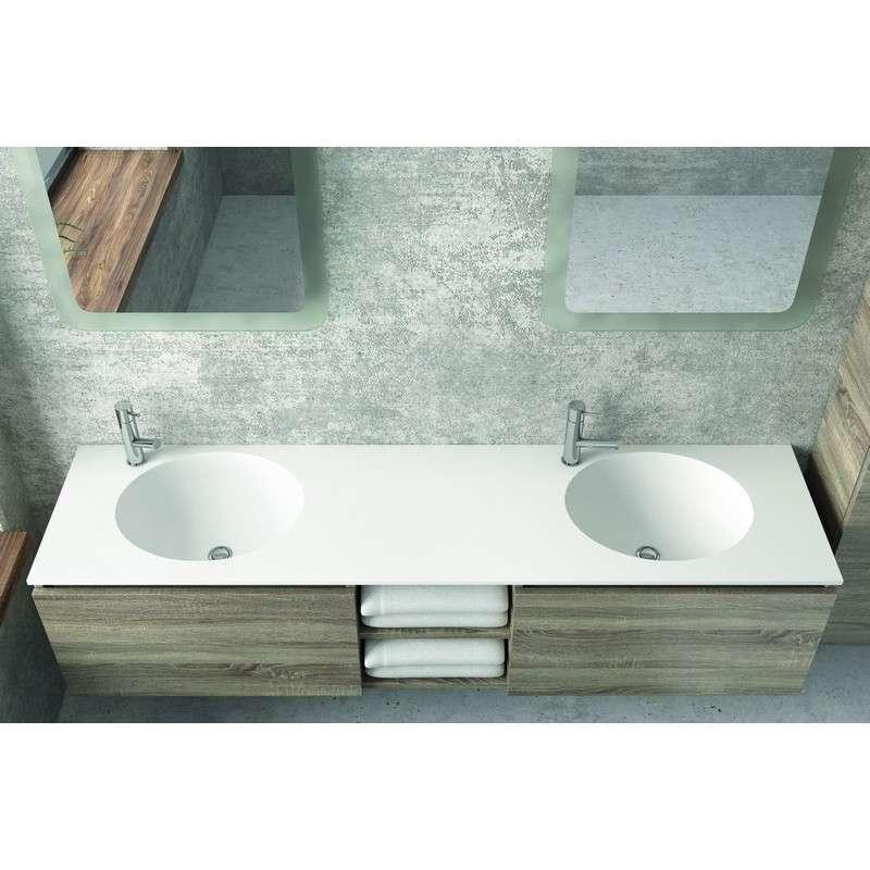 Mobile bagno con doppio lavabo in solid surface 175cm| Kamalubagno