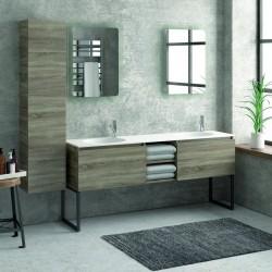 Composizione bagno 175cm, composta da mobile con lavabo doppio, due specchi led e colonna SP-175C