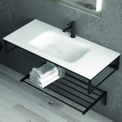 Lavabo con struttura metallica nera 100cm modello NICO-100L