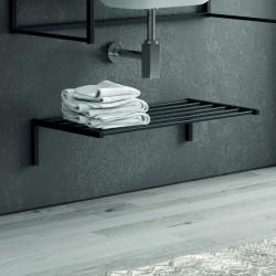 Mensola bagno colore nero in acciaio inox 65cm NICO-65M kamalu