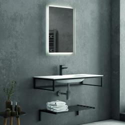 Composizione bagno metallica nera 100cm con lavabo solid surface, mensola e specchio led NICO-100C