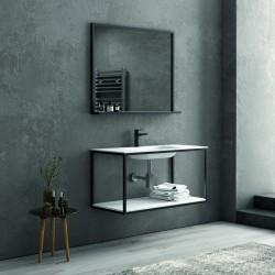 Composizione bagno metallica nera 100cm con lavabo e ripiano solid surface, specchio nero NICO-100N