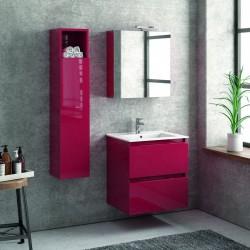 Composizione bagno sospesa 60cm mobile con lavabo colonna e specchio TOD-60A