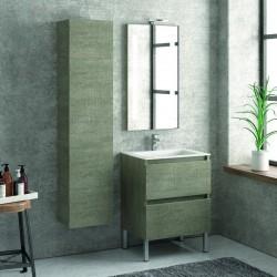 Composizione mobili bagno a terra 60cm: mobile, colonna, specchio TOD-60B