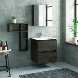 Composizione mobili bagno a sospeso 60cm: mobile, 2 pensili e specchio TOD-60C