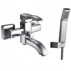 Miscelatore vasca con doccetta, flessibile e supporto muro modello Gara-V