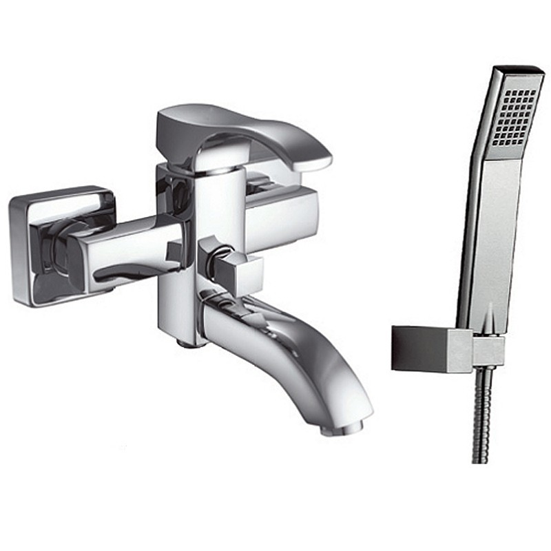 Miscelatore vasca con doccetta, flessibile e supporto muro modello Gara-V kamalubagno