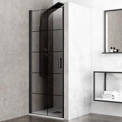Porta doccia cristallo serigrafato nero 70cm kamalu