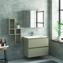Composizione mobile bagno sospeso 80cm: mobile, 2 pensili e specchio TOD-80A