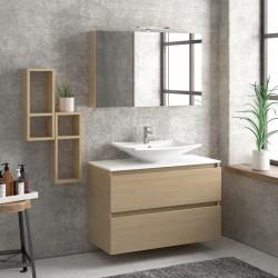 Composizione bagno sospesa 100cm: mobile, specchio contenitore e due pensili TOD-100E