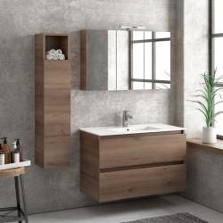 Composizione bagno sospesa 100cm: mobile con lavabo, specchio contenitore e colonna TOD-100F