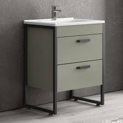 Mobile bagno 65cm con lavabo e struttura metallica nera IKO-65