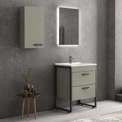 Composizione bagno a terra 65cm: mobile con lavabo, specchio led e pensile IKO-65