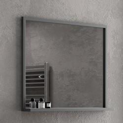 Specchio bagno con cornice nera in acciaio 100x75cm NICO-100SP