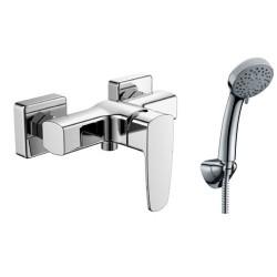 Miscelatore doccia con flessibile, doccetta e supporto muro modello Kalas-DE