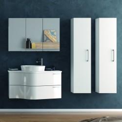 Composizione bagno sospesa 100cm: mobile, specchio contenitore e 2 colonne FORM-100