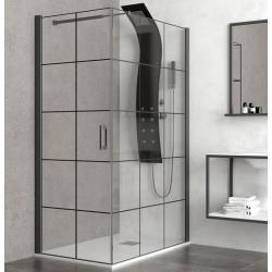 Box doccia 70x80 profili e serigrafia neri kamalubagno
