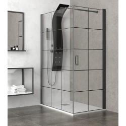 Box doccia 90x80 con telaio nero e porta apertura totale 80cm NICO-3500