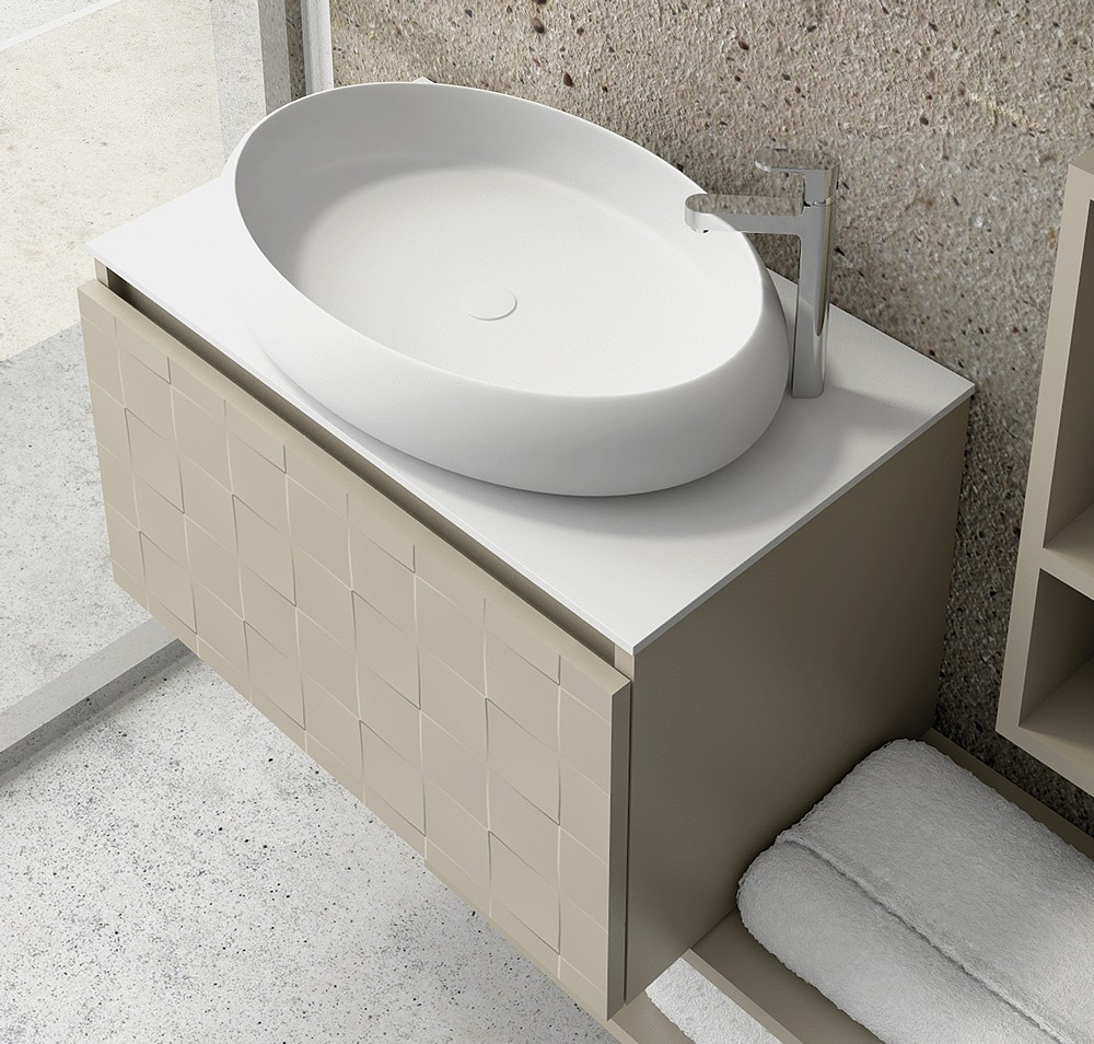 mobile sospeso con lavabo rotondo corian - guarda offerta   kamalu - Mobili Bagno Con Lavandino In Appoggio