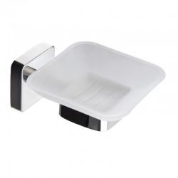 Portasapone bagno in acciaio e vetro linea Clode-V10