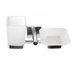 Porta spazzolini/sapone doppio in accaio e vetro linea Clode-V50
