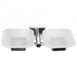 Porta sapone bagno doppio in accaio e vetro linea Clode-V60