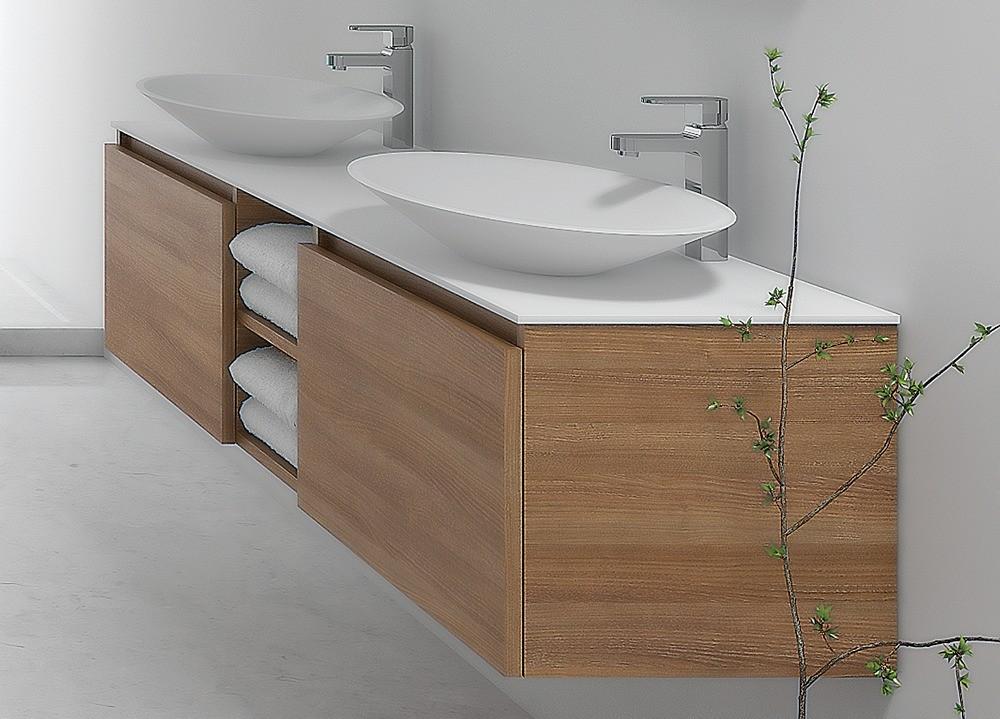 Mobile Bagno Per Lavabo Semincasso.Mobile Bagno 80 Cm Sospeso Bianco Con Lavabo In Vetro