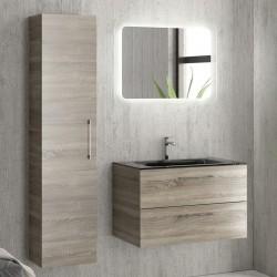 Composizione bagno sospesa con mobile da 80cm e lavabo nero EL-80C kamalu