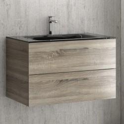 Mobile bagno sospeso da 80 cm con lavabo incasso nero EL-80C