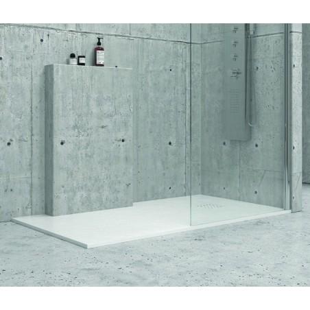 Piatto doccia 100x80 cm effetto pietra artificiale colore bianco