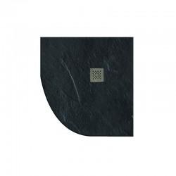 Piatto doccia 80x80 semicircolare effetto pietra nero ardesia