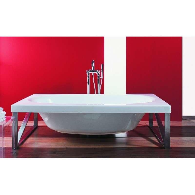 Vasca da bagno freestanding a pavimento con telaio a vista in acciaio 180cm M-256 kamalu bagno