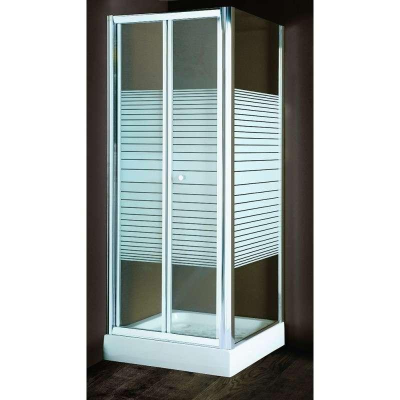 Cabina doccia angolare a soffietto con vetro serigrafato e-shop kamalubagno