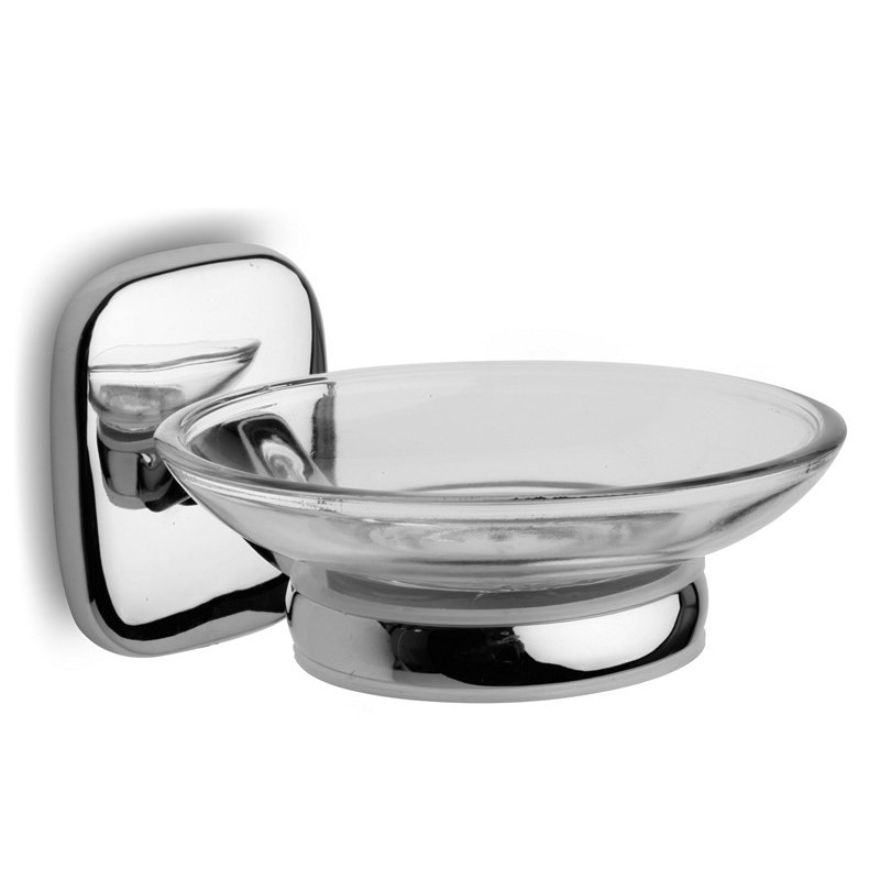 Portasapone a muro in vetro e supporto metallico RIA-3552 kamalu bagno