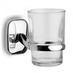 Porta spazzolini in vetro e supporto cromato modello RIA-3554